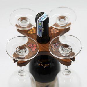 giá để rượu vang gỗ 4 ly
