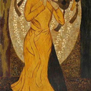 Nàng Tố Nữ II - Tranh Sơn Mài Thiếu Nữ Của Họa Sĩ Ngô Bá Công