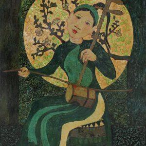 Nàng Tố Nữ III - Tranh Sơn Mài Thiếu Nữ Của Họa Sĩ Ngô Bá Công