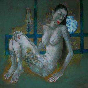 tranh cô gái khỏa thân tranh nghệ thuật sơn dầu treo phòng ngủ chung cư khỏa thân 13