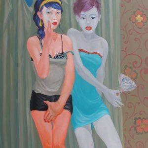 tranh cô gái nghệ thuật hai cô gái và cây kẹo ngọt