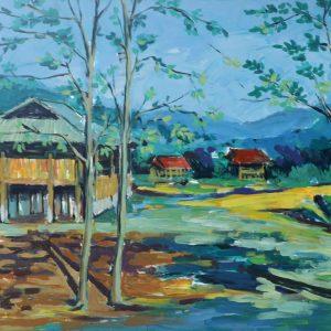 tranh nghệ thuật sơn dầu tranh phong cảnh phòng khách trang trí phòng bếp hiện đại treo văn phòng chung cư nắng mộc châu