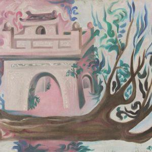 tranh phong cảnh làng quê tranh sơn dầu trang trí phòng khách treo phòng ăn đẹp chung cư công ty văn phòng cổng làng
