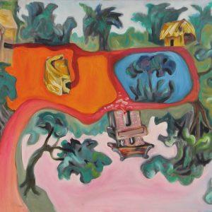 tranh phong cảnh nghệ thuật sơn dầu tranh canvas phòng khách treo phòng ăn trang trí chung cư phòng làm việc công ty làng quê