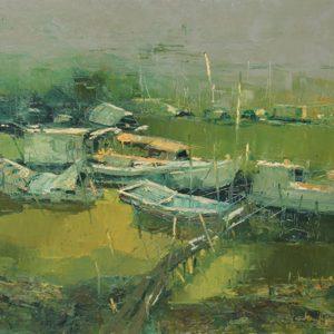 tranh phong cảnh quê hương tranh nghệ thuật sơn dầu phòng khách chung cư treo tường biệt thự phòng làm việc khách sạn làng chài