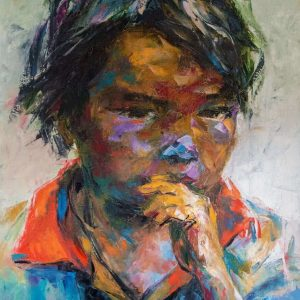 tranh sơn dầu chân dung tranh treo phòng khách chung cư sang trọng chân dung 36