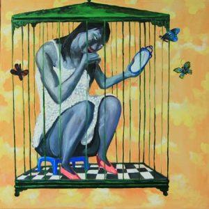 tranh sơn dầu hiện đại tranh nghệ thuật trang trí phòng khách treo chung cư phụ nữ