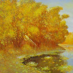 tranh sơn dầu làng quê mùa thu vàng
