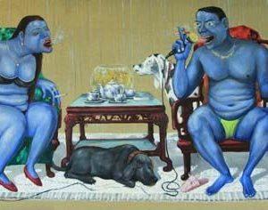 tranh sơn dầu nghệ thuật tranh phòng khách chung cư sang trọng cuộc đời nhung lụa 2
