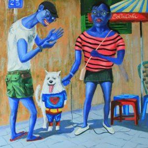 tranh sơn dầu nghệ thuật tranh tường phòng khách đẹp treo chung cư đẹp góc phố