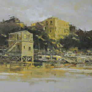 tranh sơn dầu phong cảnh nghệ thuật trang trí phòng khách chung cư treo biệt thự khách sạn văn phòng đẹp thị trấn bên dòng sông