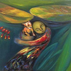 tranh thiếu nữ nghệ thuật gió mùa