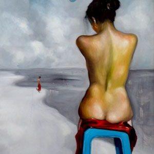 tranh thiếu nữ nghệ thuật tranh khỏa thân phòng ngủ chung cư biệt thự may vá