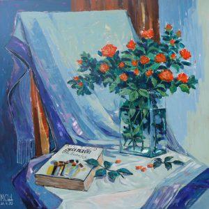 tranh tĩnh vật sơn dầu tranh hoa quả phòng ăn trang trí phòng khách chung cư đẹp văn phòng suối nguồn