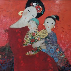 Vòng Tay Mẹ - Tranh Sơn Mài Chân Dung Của Họa Sĩ Đặng Hiền